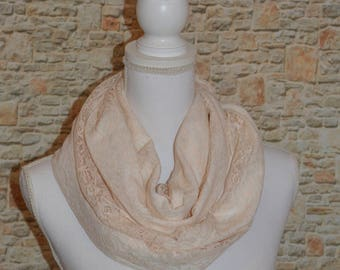Blush pink scarf Beige scarf Infinity scarf Lace scarf Womens scarves Winter scarf Eternity scarf Oversized scarf Chunky scarf Gift for her