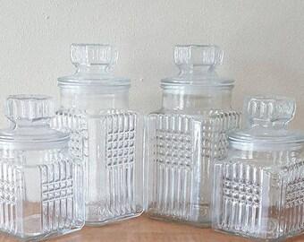 Apothecary Jar~Set of 4 Koeze's Pretzel 1989 Jars~Clear Glass Apothecary Jar Set~Clear Glass Canister Jar