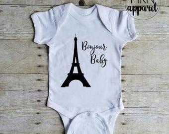 Bonjour Baby Bodysuit, Travel Baby Onesie, Cute Baby Bodysuit, Cute Baby Onesie, Cute Baby Shirt