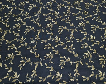 Midnight Poppies-Gold Vines on Black Cotton Fabric from Wilmington Prints