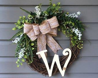 Monogrammed Wreath, Initial Grapevine Greenery Wreath, Spring Summer Wreath, All Season Wreath, Year Round Wreath, Year Round Wreath