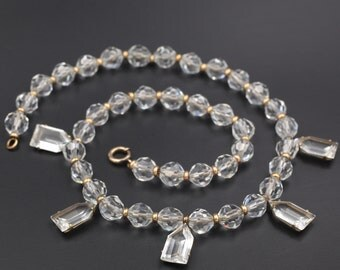 Art Deco Crystal Necklace, Simmons Crystal Necklace, Gold-Filled Crystal Necklace, Art Deco Jewelry
