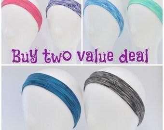 Sports headband, running headband, yoga headband, workout headband, active wear, space dyed blue lime teal pink black or purple headband,