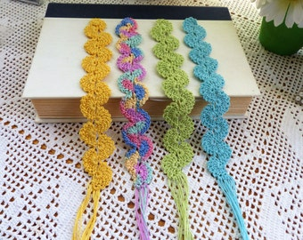 Crochet Bookmark; Free Domestic Shipping;  Books Accessories; Fanciful Fans Bookmarks; Unique Bookmarks