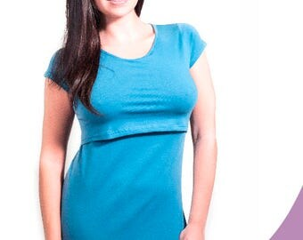 T-shirt basic of sleeve short of nursing-3 colors: white, black and turquoise