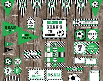 Soccer Birthday Party Set, Soccer Birthday Party Pack, Soccer Birthday Party Decoration-Digital