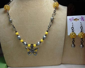 Handmade Yellow And Gray Butterfly Necklace And Earring Set