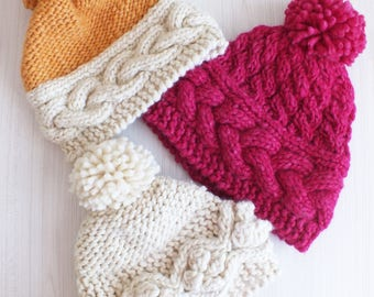 Knitting hats: Super Chunky hand knitted hats, Womens hats, wool hats