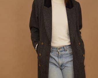 Androgynous Grey Wool & Velvet Peacoat