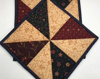 Quilted Potholders, hot pads, Rustic look, Civil war fabric, Quiltsy handmade, Item #176