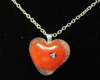 EH-P157 Pendant Heart, red and clear with a silver sparkle on a silver chain