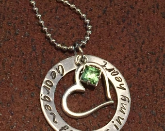 """hand stamped personalized memorial necklace, custom """"forever in my heart """"remembrance necklace, sympathy gift, in memory of heart necklace"""