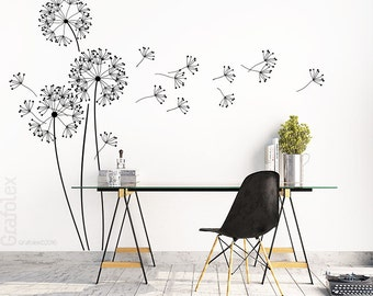 Wall decals for modern flower with flight seeds, height: 151 cm, dandelion wall sticker wall sticker living room wall decal sticker decoration w317