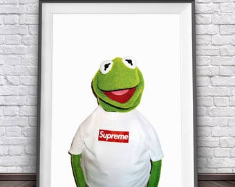 Kermit The Frog Print • Supreme Print Art Kermit Supreme Kermit Art The Muppets Print Muppet Party Supreme Clothing Kermit Meme Kermit Print
