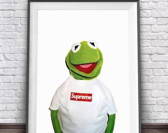 Kermit The Frog Print • Supreme Print Art Kermit Supreme Kermit Art The Muppets Print Muppet Party Supreme Clothing Kermit Meme Kermit Print