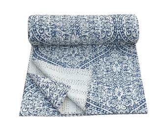 Blue Queen Size Handmade Kantha Quilt Floral Print Hand Stitched Kantha Blanket