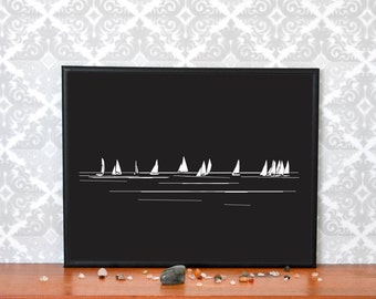 "Sail Boats on Black, Black and White, Digital/Printable/Downloadable, Silhouette Sail Boat Art Prints, Wall Art 8"" by 10"" Ocean Art"