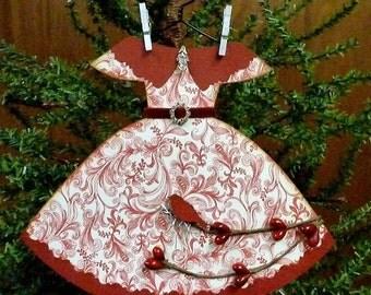 Paper Dress Ornament, Handmade Ornament, Paper Ornament, Dress Ornament, Handmade Paper Ornament, Vintage Inspired Christmas