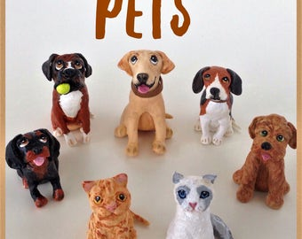 Clay customized pets cake topper
