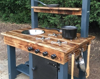 mud kitchen frame made from pressure treated timber cladded in recycled