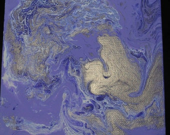 6 in x 6 in Abstract Acrylic Pouring Hand Made Purple, Silver, White