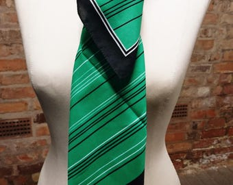 Vintage Laura Borghese scarf, geometric lines print, vintage scarf, Laura Borghese, print scarf