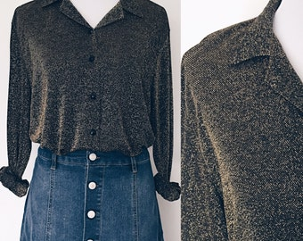 vintage gold sparkly shirt. metallic lurex button up blouse. oversized drapey black disco collared long sleeved top. 70s 80s sz M/L.