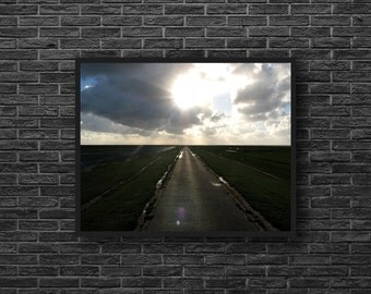 Road Print - Sunshine Photo - Field Road - Fields Photography - Road Landscape - Country Road Photography - Way Photo - Road Wall Decor