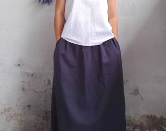 Maxi Linen Skirt / Long Linen Skirts with Pocket in Dark Grey