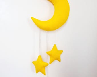 Moon and stars mobile, unisex baby shower decor, felt fabric nursery ornament, kids room wall decor, bedroom wall hanging, baby crib mobile