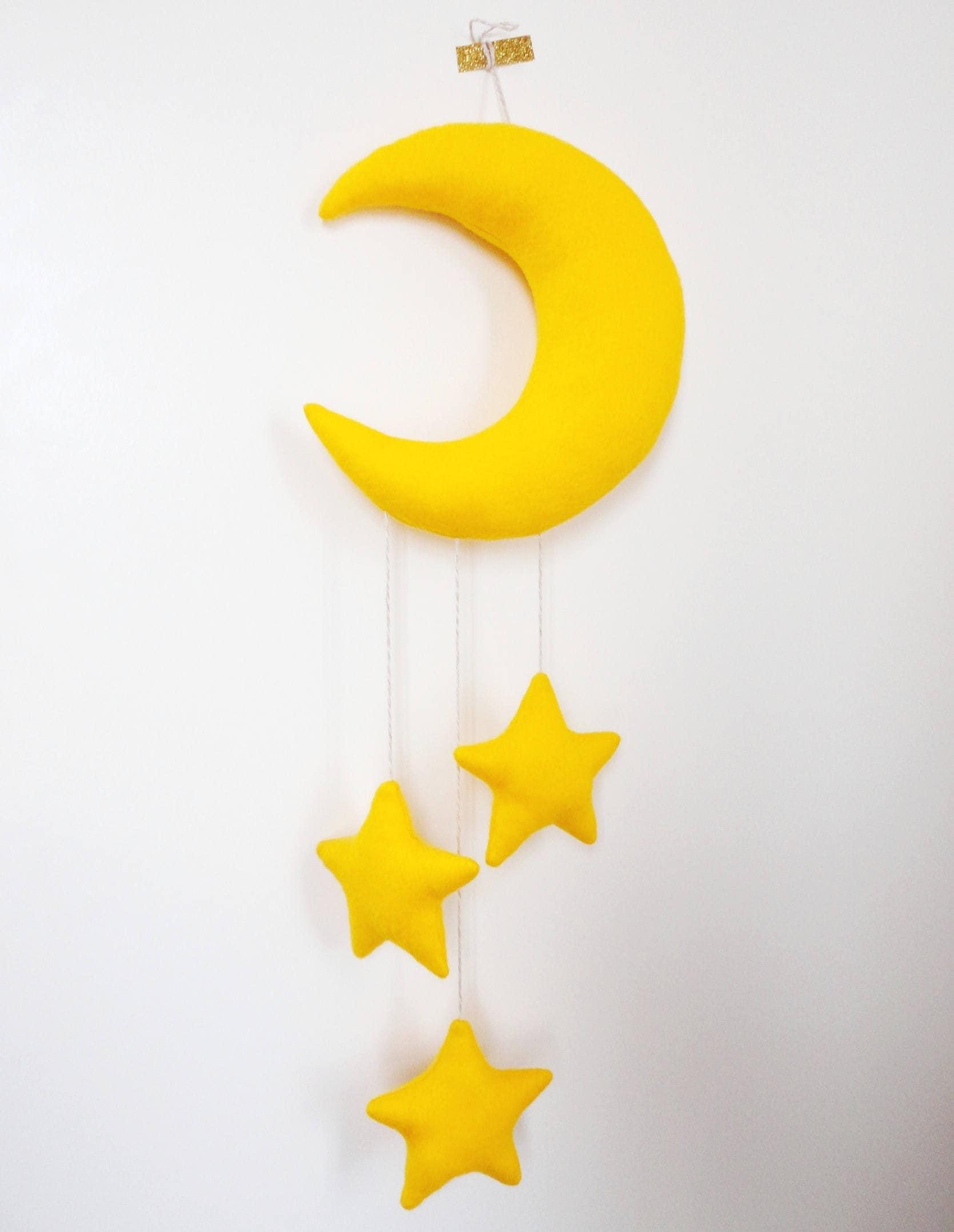 Moon and stars mobile gender neutral baby shower t felt