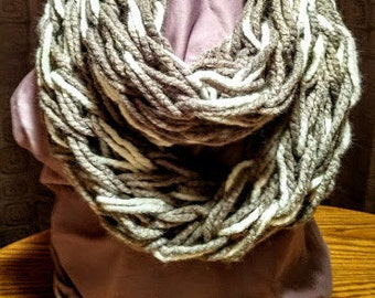 Gray and White Arm Knit Soft Wool Infinity Scarf