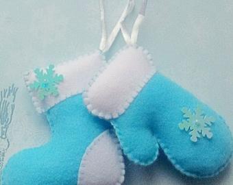 Felt Stockings mitten Blue Stockings Christmas ornament Christmas gift felt christmas ornaments  traditional decoration