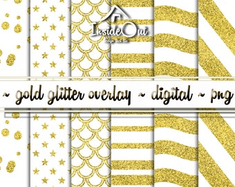 SALE! Gold Glitter Stars and Stripes Overlay Pattern USA Independence day ClipArt PNG Shine Wave Scrapbook Party Digital Paper Confetti Foil