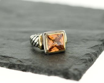 925 Sterling Silver Two Tone Champagne Topaz Emerald Square Ring