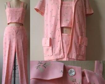 60s Vintage Three Piece Set Size M Sherbet Floral Print 1960s Pants Crop Top Jacket Mod Separates Beach Flower Buttons 3 pc Outfit