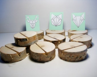 10 wood table card holders set, table place card holder, wedding table decorations, wood birch card holder, birch slices, rustic wood
