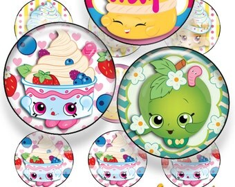 Cute Characters - Shopkins INSPIRED Illstration - One inch bottle cap images - JPG format - Instant download