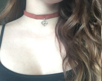 Rust suede choker with compass charm