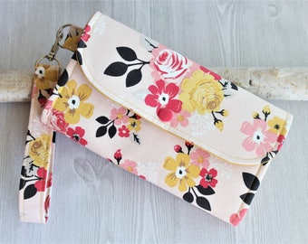 Peach Pink floral Womens clutch wallet , Wristlet handmade fabric wallet, Accordion bifold wallet, credit card wallet, iphone wallet