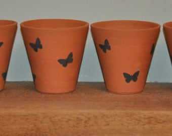 Little Terracotta Flower Pots with Butterflies - Set of 4
