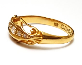 Antique 18K Yellow Gold and Five-stone Diamond Ring