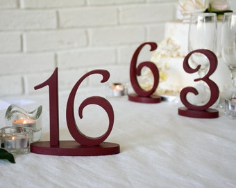 Wedding table numbers in Burgundy red - elegant rustic script numbers - GOLD GLITTER - SIlver wedding numbers, table decoration