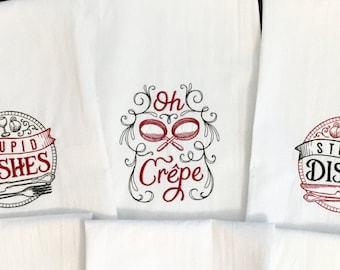 Embroidered Tea Towel - Oh Crepe