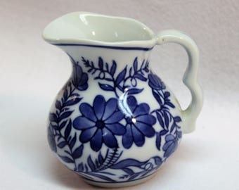 Small Cobalt Blue and White Pitcher  Creamer