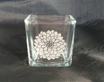 Glass Etched Vase / Votive Candle Holder / Mother's Day Gift / Gift for Her / Gift for Mom / Grandmother