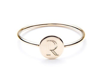 INITIAL RING - initial ring / gift for her / letter ring / initial ring gold / name ring / rose gold intial / solid 14k intial ring