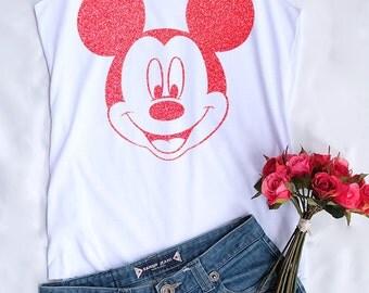 Red Glitter Mickey Mouse tank top. Disney tank. Disney tshirt. Tee&Tops. Disney tank. Disney family shirts. Disney shirt. Mickey mouse shirt