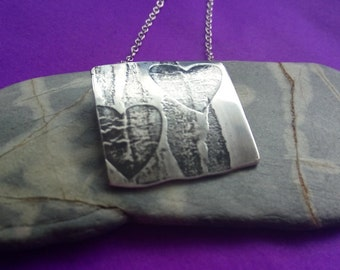 Handmade Heart Necklace in Oxidised Silver