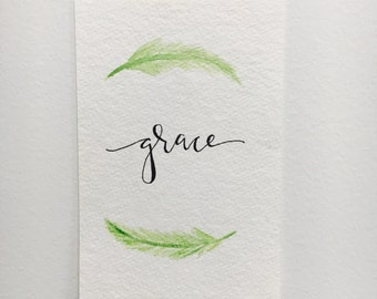 Hand-lettered Grace Artwork with Watercolor Leaves // 4x6 // 5x7 // 8x10